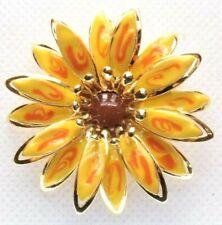 & Orange Enamel - Layered - Gold Tone Brooch Pin - Flower - Daisy - Brown Yellow