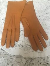 Women's Leather Gloves in Mustard Yellow  /Tan Size 7 1/4 By Fownes