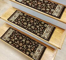 "Brown Stair Tread Set of 7 Traditional Non Slip Carpet Treads 26"" x 9"" Rug Depot"