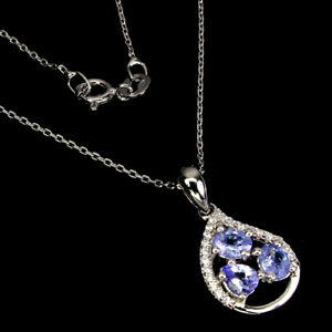 Unheated Oval Tanzanite 5x4mm Cz White Gold Plate 925 Sterling Silver Necklace