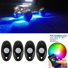 4pc Bright Pod Bluetooth RGB LED Rock Lights Multi-Function For 4x4 off Road Car
