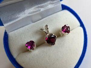 New Rhodolite Heart Garnet Earring and Pendant Set in Silver Settings, Beautiful