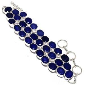 Blue Sapphire Gemstone 925 Sterling SilverJewelry Bracelet 7-8