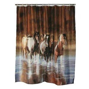 "HORSE SHOWER CURTAIN Set 72"" x 70"" Country Western Bathroom Decor"