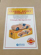 Atlas  Dinky Toys 111 Triumph TR2 Sports Car - Certificate of Authenticity.