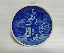 Hans Christian Anderson Statue Depicted On Blue & White Miniature Denmark Plate