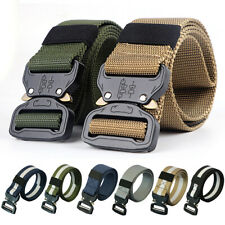 Men Quick Release Buckle Military Trouser Belt Army Tactical Nylon Webbing ge