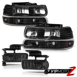 For 00-06 Chevy Surburban / Tahoe Black Headlight Bumper Signal + Smoke Fog Lamp