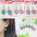 New Fashion Women Heart Ocean Crystal Hook Earrings Rhinestone Stud Earrings