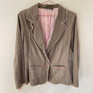Billabong Brown Cotton Jacket - 10 - Raw Edge - Pink White Stripe
