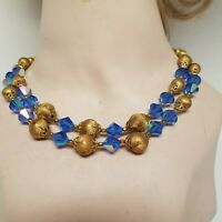 Vintage 2 strand necklace Blue Faceted Bead and Gold Tone Beads Adjustable Lengt