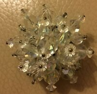 Vintage Cluster Brooch Retro 1950s Clear Bead Facetted Glass Pin Bridal Wedding