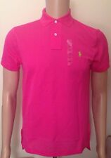 Ralph Lauren Mens Bright Pink Polo Shirt Custom Fit Small