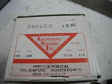 """Anchoring Systems Inc. 5/16"""" Anchor 2-15/16"""" Long, 1/4"""" thread, Box of 100 - NEW"""