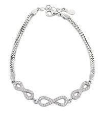 Damen Armband Infinity 925 Sterling Silber 70 Zirkonia 19cm lang Unendlich NEU