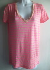 J.CREW VINTAGE COTTON NEON PINK & PINK V-NECK S/S SUMMER 2012 TEE TOP SZ S