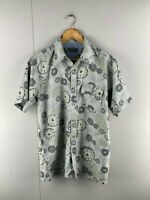 Concept Surf Mens Grey Vintage Short Sleeve Hawaiian Button Up Shirt Size Medium