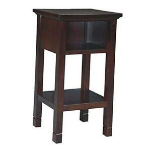 Marnville Rustic Wood Accent Table With USB Hook Up, Brown Reddish Brown