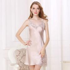 Natural Silk Womens Slips Lace V Neck W/ Adjustable Strap
