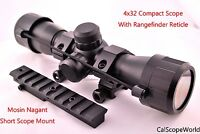 Tactical 4x32 Scope With Rangefinder Reticle and Mosin Nagant Short Mount