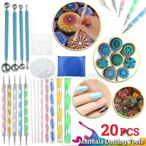 20Pcs Mandala Dotting Tools Painting Kit Dot Art Rock Pen Paint Stencil w/