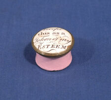 Antique 18th C. Battersea Enamel Patch Box Motto Accept This Token of My Esteem