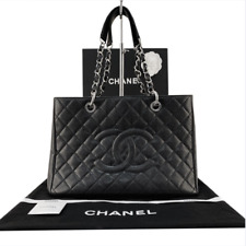 CHANEL Quilted Black Caviar Leather Grand Shopping Tote Handbag