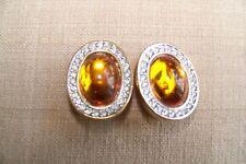Vintage Daniel Swarovski Clip Earrings, D.S.Co. Brown