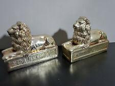 Vintage Mid-Century Modern Brass Lion Bookends w/ Felt Bottoms, Superb Shape!