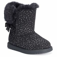Jumping Beans® Toddler Girls' Sparkly Pom-Pom Boots, Black