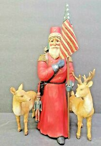 CHRISTMAS SANTA RARE HARD TO FIND FOLK ART BY LEO SMITH PATRIOTIC SANTA LTD EDIT