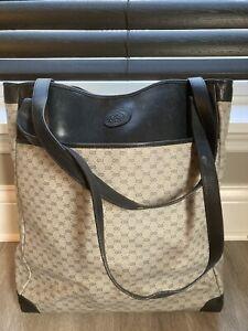 Vtg GUCCI GG Leather/PVC Navy Blue Tote Shoulder Bag