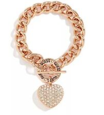 Guess Rose-Gold Chunky Chain Bracelet Rhinestone Heart Charm