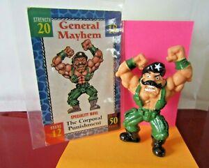 Monster in my Pocket Wrestlers W27 General Mayhem & Card 1995 Mini Figure
