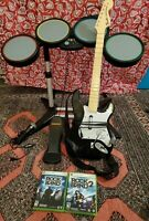 Rock Band - Xbox 360 - Bundle Set Fender Guitar Drums Mic RockBand 1 and 2 Games