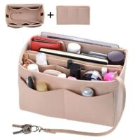Purse Insert Makeup Cosmetic Handbag Felt Bag Organizer With Zipper Tote Shaper