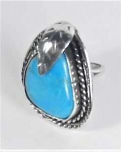 Unsigned - Sterling Silver Bisbee Turquoise Nugget Ring - Size 6 3/4 - VINTAGE