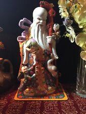 "20"" ANTIQUE CHINESE FAMILLE ROSE GOD of LONGEVITY SHOU XING PORCELAIN FIGURINE"