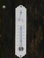 THERMOMETRE EMAILLE 25 cm Phare Bleu EMAIL VERITABLE 800°C NEUF FABR. EN FRANCE