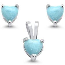 Natural Larimar Heart Pendant & Earrings .925 Sterling Silver Set