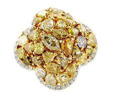 Real 3.74ct Natural Fancy Intense Yellow Diamonds Engagement Ring 18K Solid Gold
