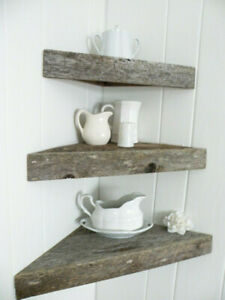 New and Reclaimed Barn Wood Floating Corner Shelf Rustic Primitive Cabin Country