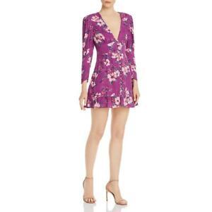 Rahi Womens Wren Reese Purple Floral V-Neck Party Mini Dress L BHFO 8715