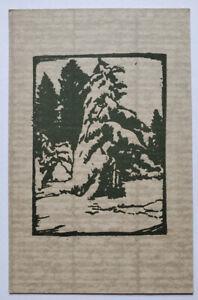 William Seltzer Rice Original Block Print Postcard California Big Trees