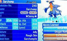 Shiny Garchomp + Mega Item Perfect 6IV EV Ready Pokemon Sun Moon EX GX Pack