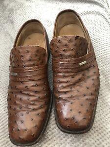 Dark Tan Moreschi Italian Men's Shoes Size 9 Croc Skin