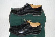 Men's Loake Oban Black Leather Semi-Brogue Shoes-Size 8,Fitting F.