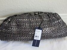 Rebecca Minkoff Black Gray Tweed Impulse Clutch 10CFIWCF32 Woven kis lock Silver