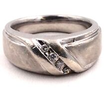 Sterling Silver Clear Stone Wedding Band Ring Size 10 11.8grams