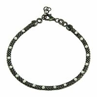 Sterling Silver 925 Black Rhodium Plated Bracelet With White Diamond